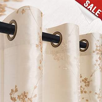 Faux Silk Floral Embroidered Sheer Curtains for Bedroom Embroidery Curtain for Living Room 84 inch Length