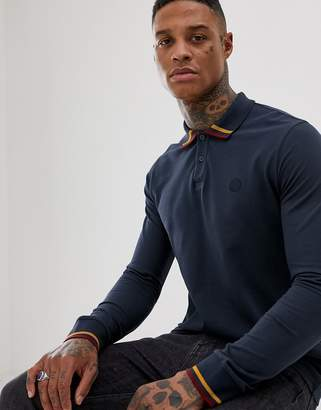 Pretty Green tipped long sleeve cuffed polo in navy