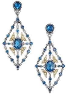 Konstantino Thalassa London Blue Topaz, 18K Yellow Gold & Sterling Silver Chandelier Earrings