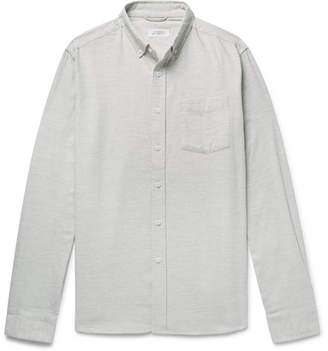 Saturdays NYC Button-Down Collar Mélange Cotton-Flannel Shirt