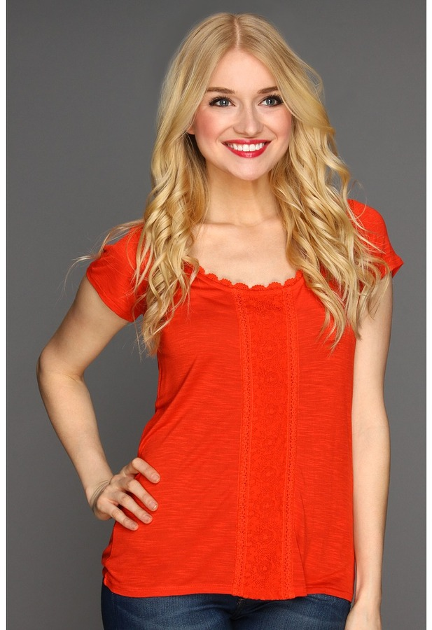 Lucky Brand Nania Lace Inset Top (Chili) - Apparel