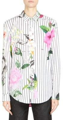 Off-White Striped Floral-Print Shirt