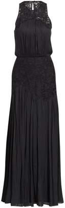 Halston Metallic Memory Floral Lace Applique Gown