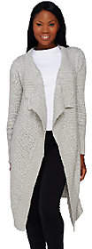 Halston H by Cascade Front Long Cardigan withTexture Stitch