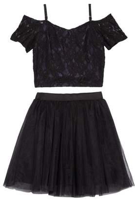 Miss Behave Cold Shoulder Top & Tulle Skirt