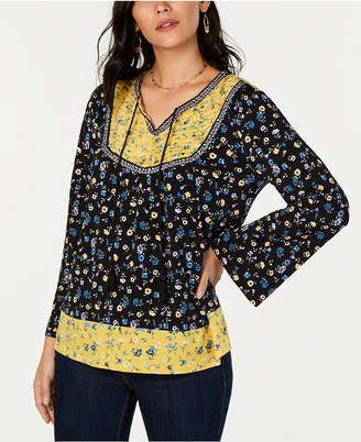 Style&Co. Style & Co Printed Peasant Top