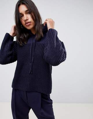 Asos Jumper With Hood In Knit And Sweat Mix