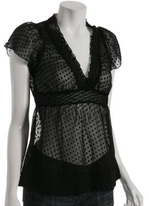 BCBGMAXAZRIA black swiss dot chiffon v-neck blouse