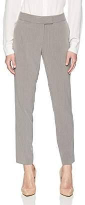 Tahari by Arthur S. Levine Women's Petite 2 Button Pinstripe Turn up Leather Trim Pant Suit