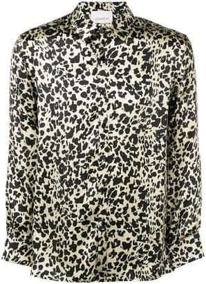 Laneus satin leopard-print shirt