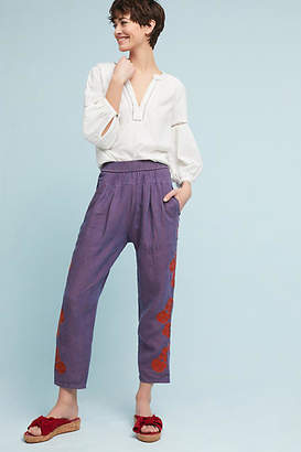 Anthropologie Embroidered Linen Pants