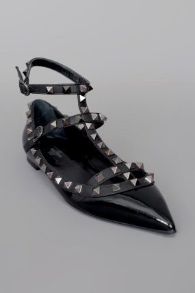 Valentino Rock Star Studded Slingback Ballerina Flat Black