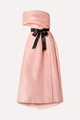 Monique Lhuillier Draped One-shoulder Silk Gown - Antique rose