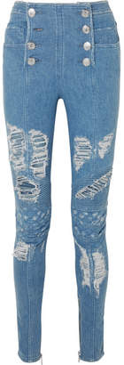 Balmain Distressed High-rise Skinny Jeans - Blue