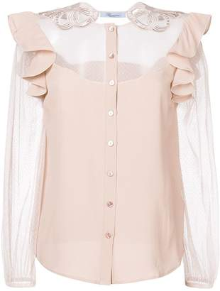 Blumarine sheer panel shirt