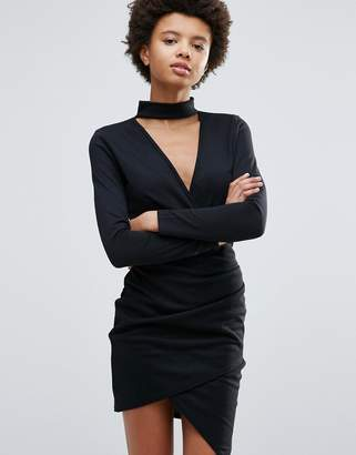 Daisy Street High Neck Bodycon Dress With Crossover Front $28 thestylecure.com