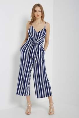 Soprano Lovely Navy-Stripes Pocket-Jumpsuit