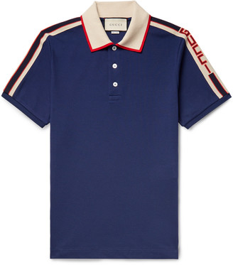 Gucci Slim-Fit Webbing-Trimmed Stretch-Cotton Pique Polo Shirt