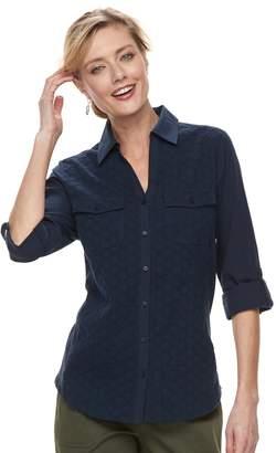 Croft & Barrow Women's Knit-to-Fit Roll-Tab Shirt