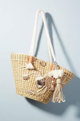 Vineet Bahl Frostum Embellished Straw Tote Bag