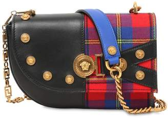 Versace Clash Leather & Plaid Shoulder Bag