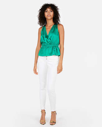 Express Satin Deep V-Neck Surplice Top