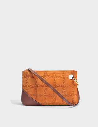 J.W.Anderson Logo Pierce Clutch Bag in Burnt Orange Embossed Suede