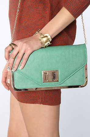 Urban Expressions The Summit Clutch in Green and Gold
