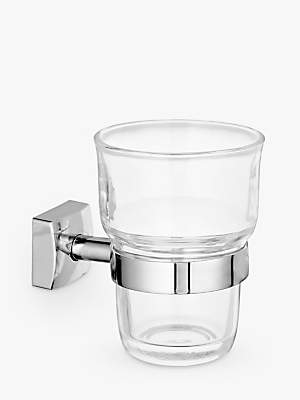 John Lewis & Partners Pure Bathroom Tumbler and Holder, Silver