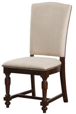ACME Furniture Acme Tanner Beige Fabric Side Chair in Cherry, Set of 2