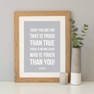 Dr. Seuss Hope and Love 'You Are You' Quote Print