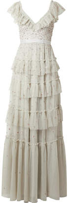 Needle & Thread Sunburst Tiered Embellished Ruffle-trimmed Tulle Gown - Gray green
