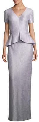 St. John Hansh Sequin Peplum Gown
