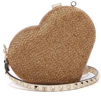 Valentino Carry Secrets Bead Embellished Heart Clutch - Womens - Gold