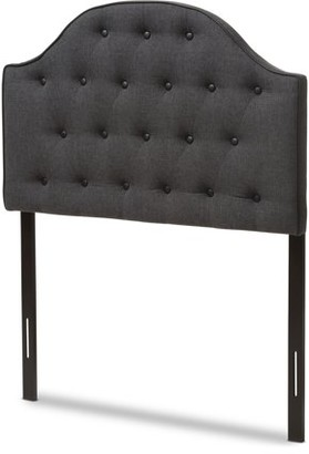 Baxton Studio Windsor Modern and Contemporary Dark Grey Fabric Upholstered Scalloped Buttoned Twin Size Headboard