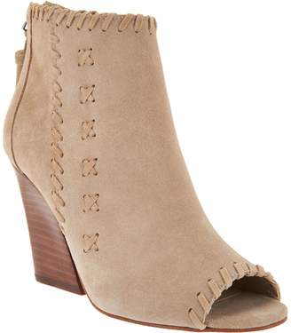 Marc Fisher Suede Peep Toe Ankle Boots w/ Stitch Detail - Genesa
