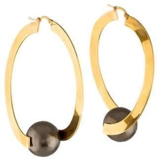 Celine Faux Pearl Dot Hoop Earrings