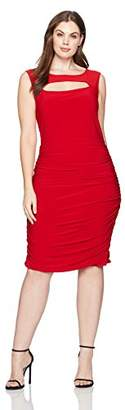 Star Vixen Women's Plus Size Sleeveless Peekaboo Rouched Bodycon Dress