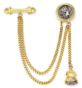 Ben-Amun Ben Amun Double Chain Coin Brooch