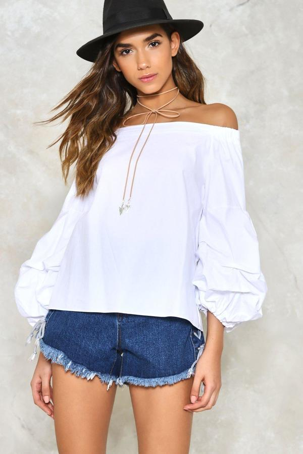 nastygal Hit It Big Off-the-Shoulder Top