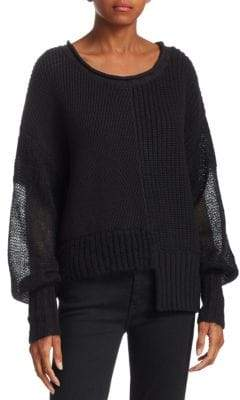 Alexander Wang Mixed Media Ribbed Sweater