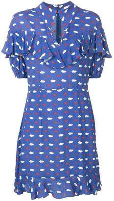 VIVETTA clouds and lips print ruffle dress