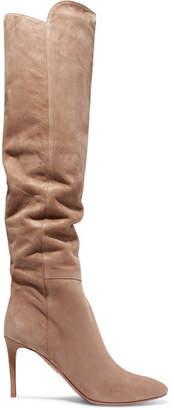 Aquazzura Gainsbourg Suede Knee Boots - Beige