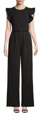 Calvin Klein Short Sleeve Flutter Belted Jumpsuit
