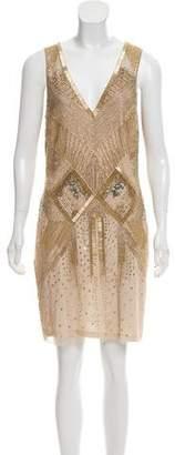 Aidan Mattox Beaded Sleeveless Sheath Dress
