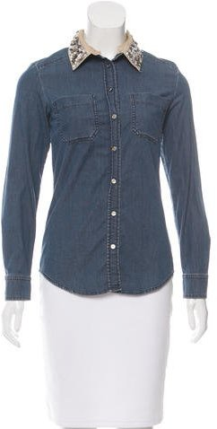 Max Mara MaxMara Weekend Crystal Embellished Denim Top