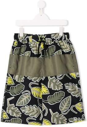 Stella McCartney TEEN leaf print swim shorts