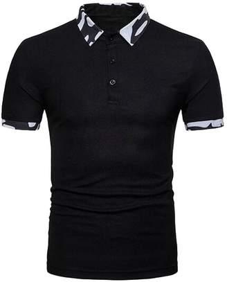 b26c51303bda Fensajomon Mens Casual Dress Camo Stitching Short Sleeve Golf Polo Shirt T- Shirt S