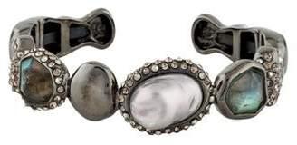 Alexis Bittar Labradorite, Faux Pearl & Crystal Cuff