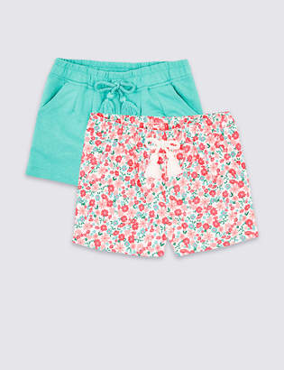Marks and Spencer 2 Pack Cotton Rich Shorts (3 Months - 7 Years)